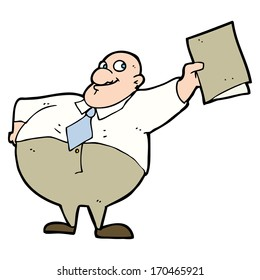 cartoon happy boss with file
