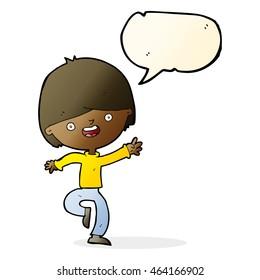cartoon happy boy dancing with speech bubble