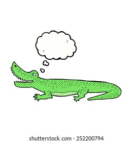 cartoon happy crocodile with thought bubble