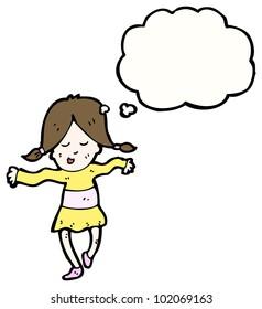 cartoon happy dancing girl