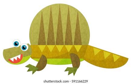 cartoon happy dinosaur illustration for children