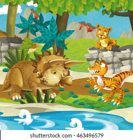 Cartoon happy dinosaur - triceratops velociraptor sabre tooth - illustration for the children