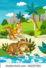 Cartoon happy dinosaurs - illustration for the children