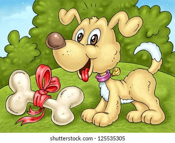 Cartoon Happy Dog with Bone Present