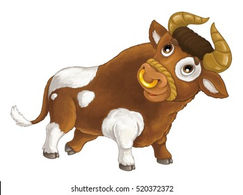 Cartoon happy farm animal - cheerful bull is running smiling and looking - artistic style - isolated - illustration for children