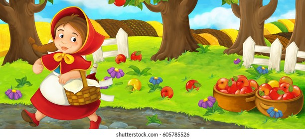 cartoon happy farm scene with young girl near the orchard beautiful day