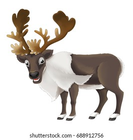 cartoon happy and funny animal - isolated reindeer - illustration for children