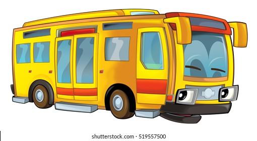 Cartoon happy and funny cartoon bus - illustration for children