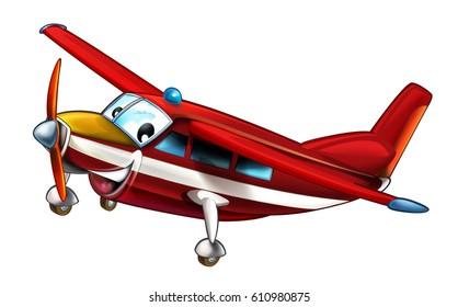 cartoon happy and funny fireman plane isolated