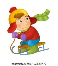 cartoon happy and funny kid - sliding - illustration for children