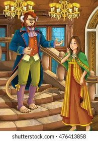 Cartoon happy and funny scene - beast prince and girl talking in the castle - illustration for children