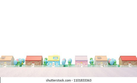 Cartoon houses on white background. 3d rendering picture.