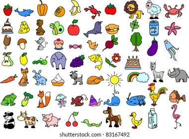 Cartoon icons of animals, food - Shutterstock ID 83167492
