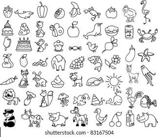 Cartoon icons of animals, food - Shutterstock ID 83167504