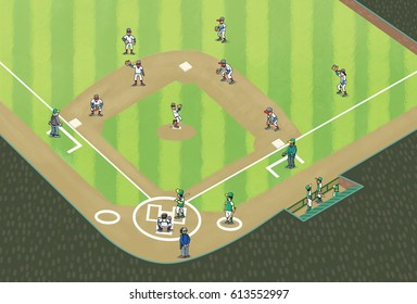 Cartoon illustration of baseball game, showing the diamond and player positions, including fielders, pitcher, batter, umpires and catcher