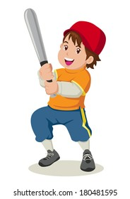 Cartoon illustration of a boy holding a baseball bat