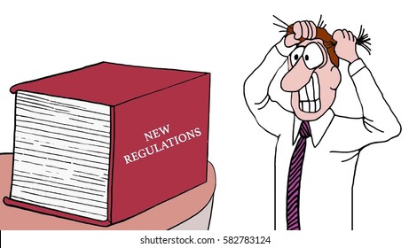Cartoon illustration of a businessman pulling his hair out as he looks at the huge book of 'new regulations'.