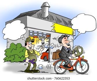 Cartoon illustration of a a businessman who has mounted a steering wheel on his bike