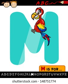 Cartoon Illustration of Capital Letter M from Alphabet with Macaw for Children Education
