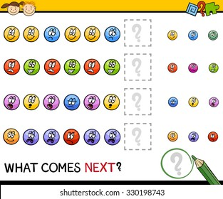 Cartoon Illustration of Completing the Pattern Educational Task for Preschool Children with Emotions Signs