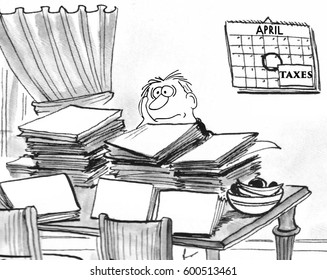 Cartoon illustration of a disgruntled, frustrated man trying to do his taxes.