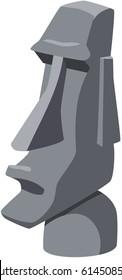 Cartoon illustration of an Easter Island stone Tiki head