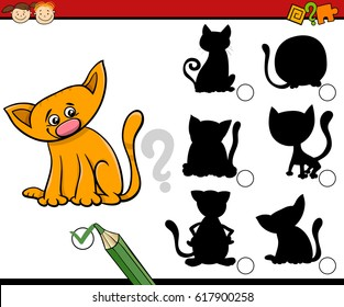 Cartoon Illustration of Educational Shadow Task for Preschool Children with Cats or Kittens