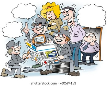 Cartoon illustration of employees people there read interested in the magazine for auto industry