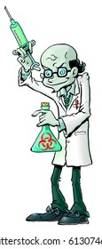 Cartoon illustration of an evil mad scientist, with a large, nasty-looking syringe and flask full of luminous green radioactive liquid. He wears glasses. His name is Herbert Pest