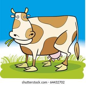 Cartoon illustration of farm cow