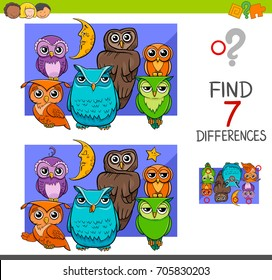 Cartoon Illustration of Find the Differences Educational Activity Game for Children with Owls Animal Characters Group