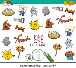 Cartoon Illustration of Find One of a Kind Educational Activity for Children with Funny Pictures