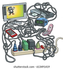 Cartoon illustration of a full power strip, loaded with plugs, cables and dongles from household electronic devices such as phones tv, clock, DVD, DVD, blu Ray, in a big tangle