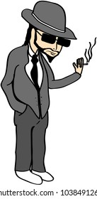Cartoon illustration of a gangster with a hat smoking a cigarette