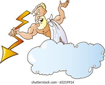 Cartoon illustration of greek god zeus with lighting