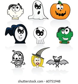 Cartoon illustration of a group of different Halloween characters