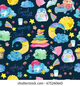 Cartoon illustration of hand drawing elements, Good night collection, cute animals and children, seamless pattern