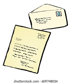 Cartoon illustration of a handwritten letter