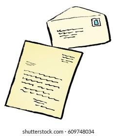 Cartoon illustration of a handwritten letter
