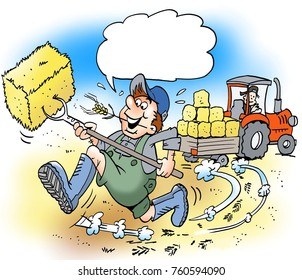 Cartoon illustration of a happy farmer with big boots