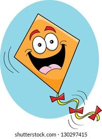 Cartoon illustration of a happy kite.