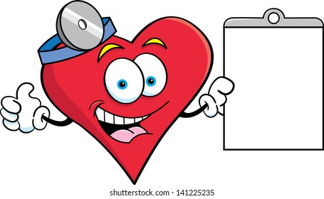 Cartoon illustration of a heart holding a chart and giving thumbs up.