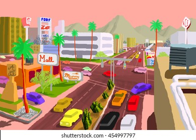 Cartoon Illustration inspired by Camelback Road in Phoenix, Arizona