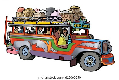 Cartoon illustration of a jeepney type of bus as found in the Phillipines. Similar to many colorful buses found in cities and rural around around the globe.