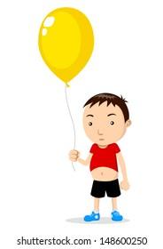 Cartoon illustration of a kid holding a balloon