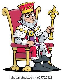A cartoon illustration of king sitting on a throne