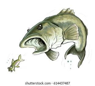Cartoon illustration or a large bass fish