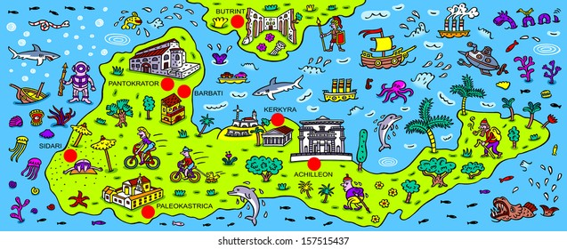Cartoon illustration - map of the Greek island Corfu