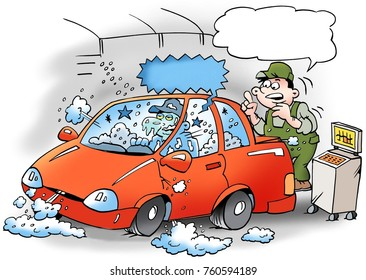 Cartoon illustration of a mechanics that tests the air conditioner in the car, the mechanic is frozen