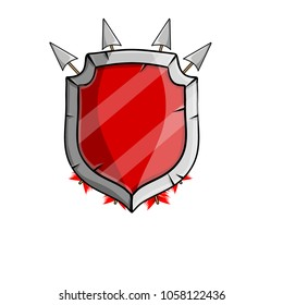 cartoon illustration - medieval weapons and armor. the heraldic coat of arms emblem of the knight of the red shield with crossed arrow